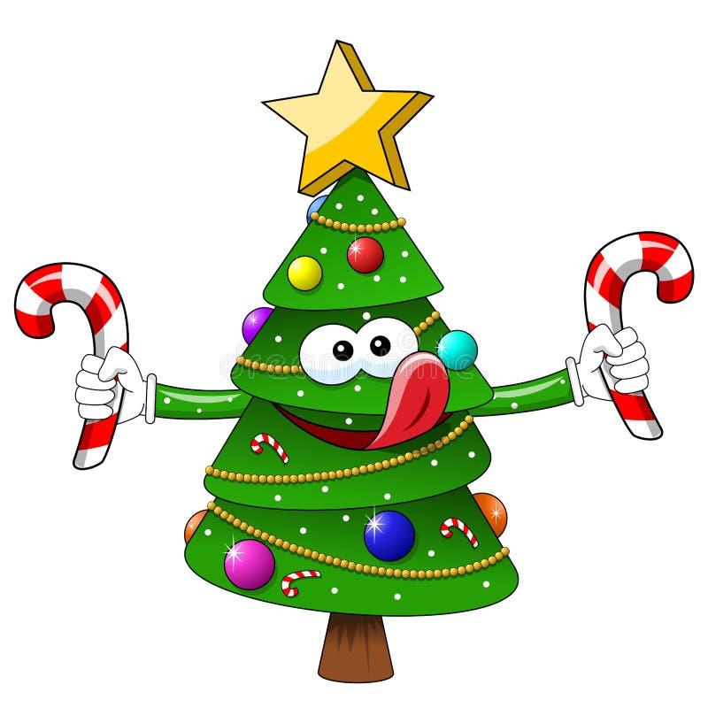 Изолированное голодное конфет помадок рождественской елки xmas мультфильма иллюстрация вектора
