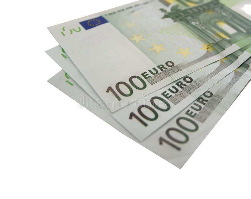 Download изолированное евро 100 счетов 3x Стоковое Фото - изображение насчитывающей двухстороннего, дело: 484946