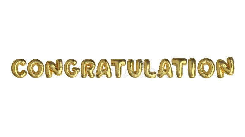 Изолированное золотое слово CONGRATS воздушного шара стоковое изображение rf
