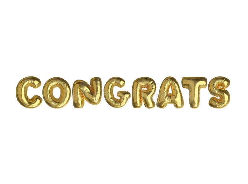 Изолированное золотое слово CONGRATS воздушного шара стоковые изображения