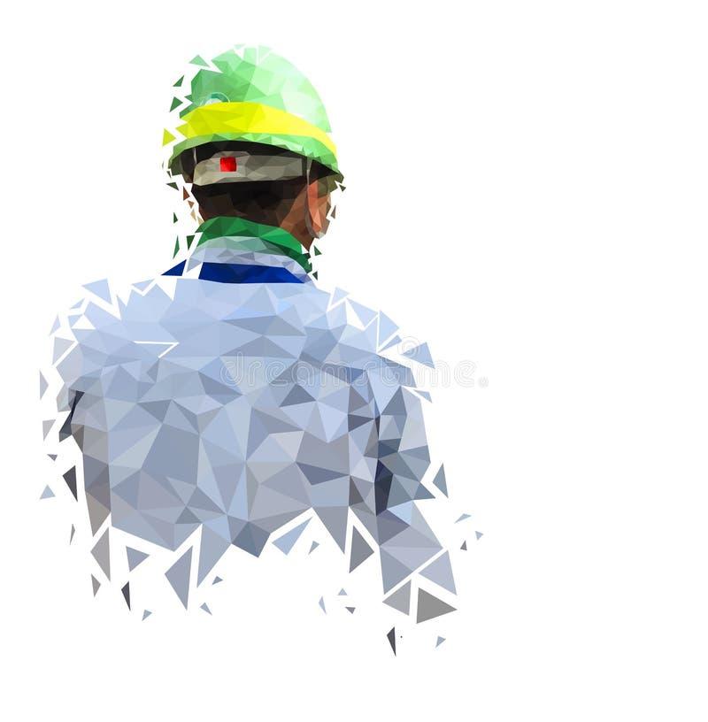 Изолированное низко поли инженера безопасности на земле задней части белизны, геометрическом стиле, абстрактном векторе бесплатная иллюстрация