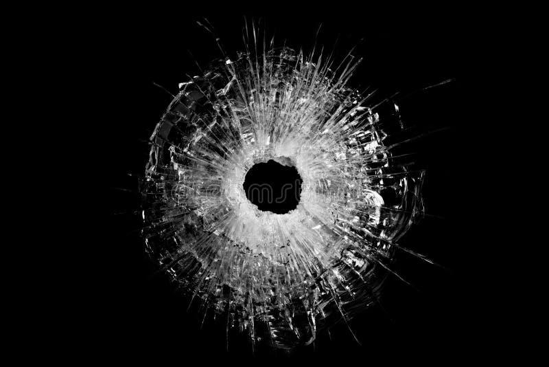 изолированное отверстие пули стеклянное стоковое фото