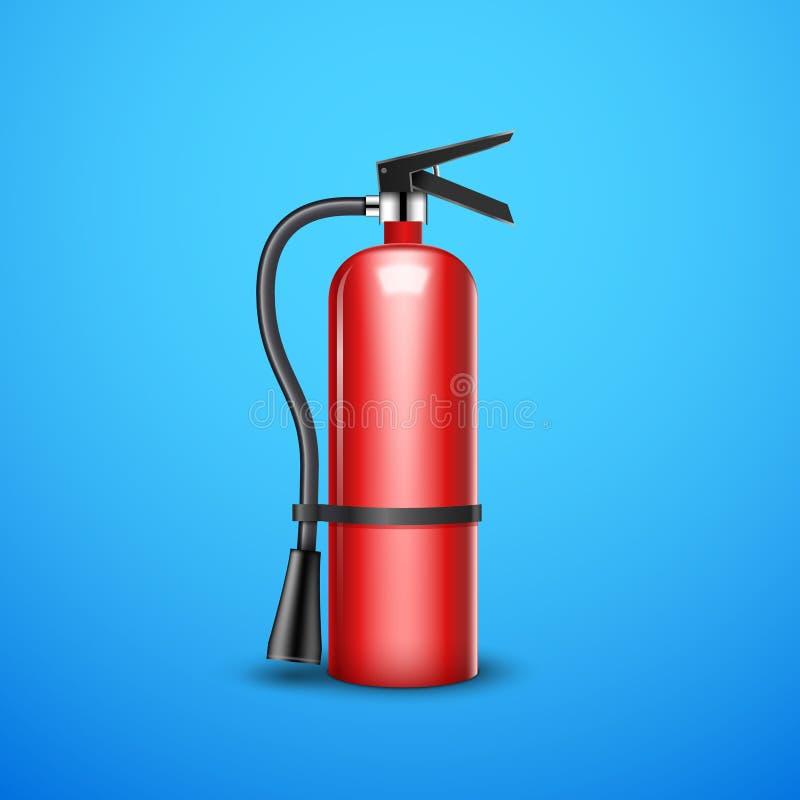 Изолированное предохранение от огнетушителя Знак помощи опасности красного огнетушителя непредвиденный иллюстрация вектора