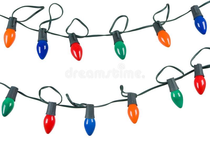 изолированное рождество освещает белизну шнуров 2 стоковая фотография rf