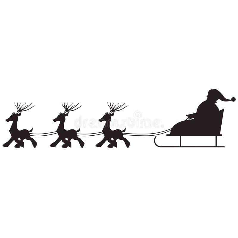 Изолированное рождество скелетона Санта Клауса и северного оленя черный силуэт бесплатная иллюстрация
