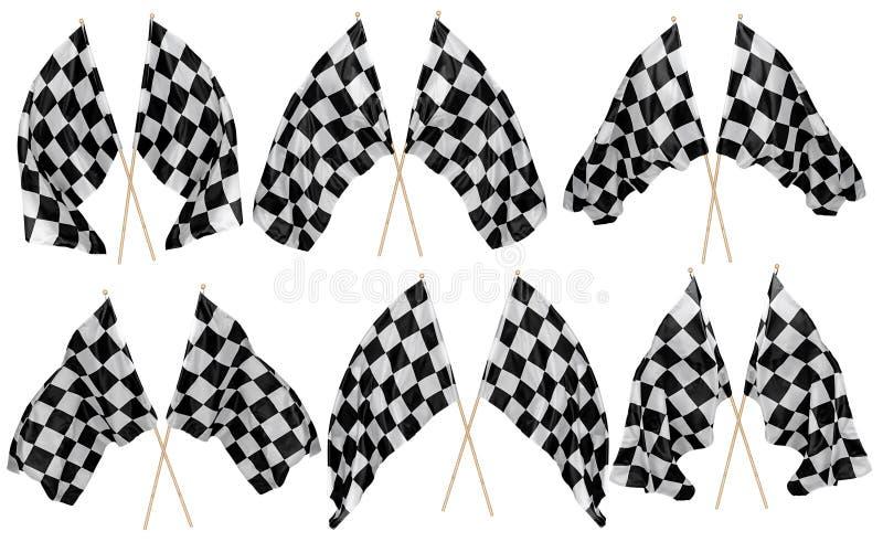 Изолированное собрание набора развевать пересекло спорт motorsport ручки черного белого chequered флага креста деревянный и конце стоковое изображение rf