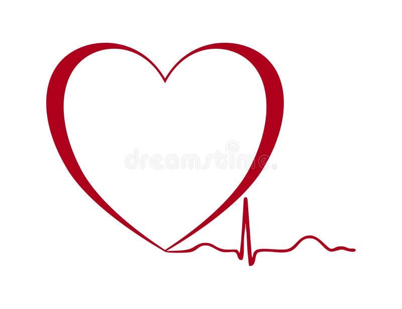 Изолированное ekg силуэта сердца бесплатная иллюстрация