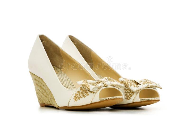 Изолированные ботинки женщины стоковые фотографии rf