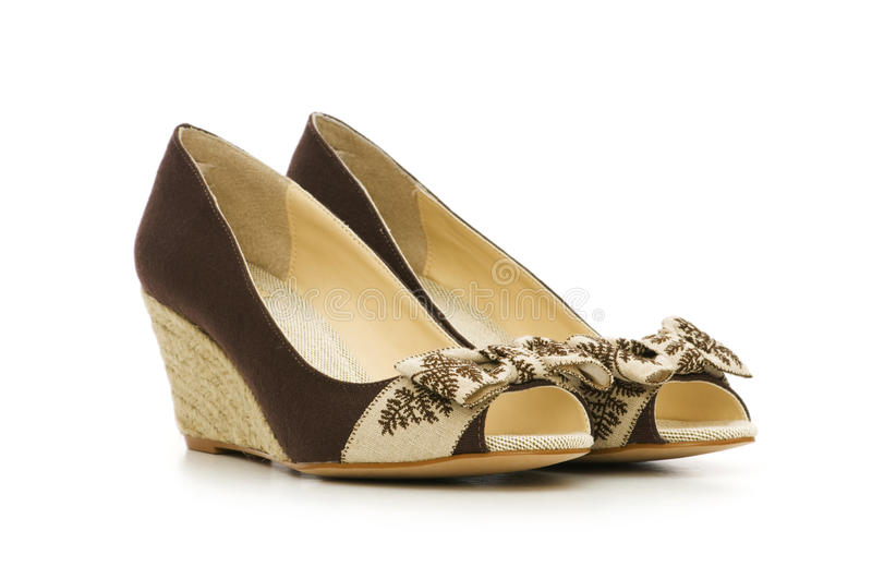 Изолированные ботинки женщины стоковые изображения rf