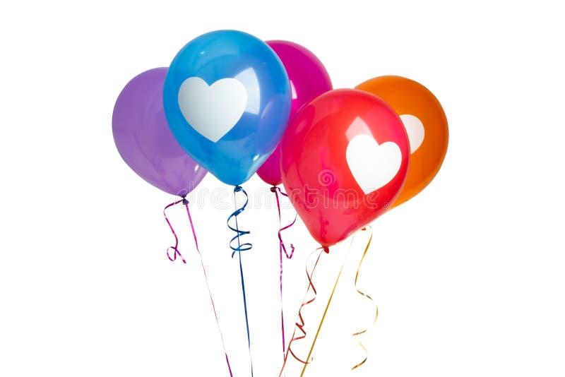 Изолированные воздушные шары сердца стоковая фотография
