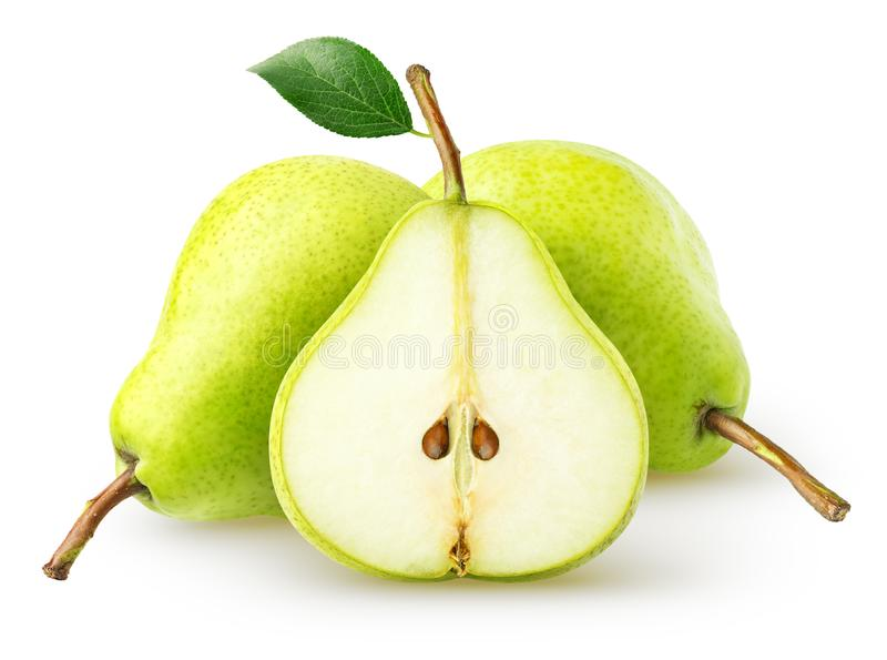 изолированные груши 2 всех плоды и куска груши изолированных на белой предпосылке, с путем клиппирования стоковое фото