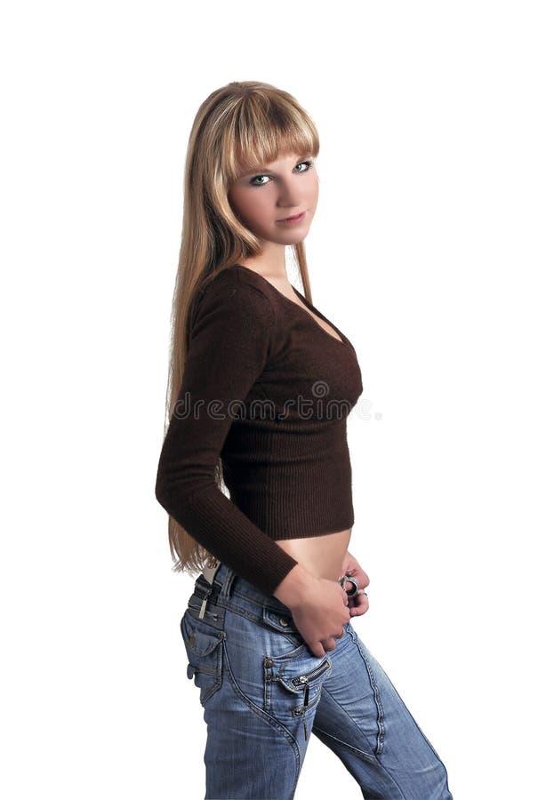 изолированные девушкой детеныши портрета стоковые изображения rf