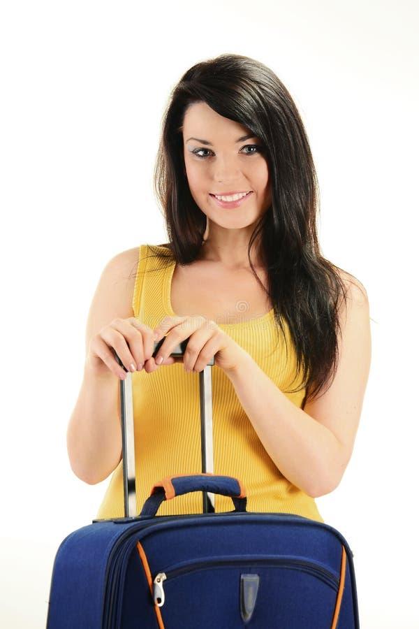 изолированные детеныши белой женщины чемодана стоковое фото