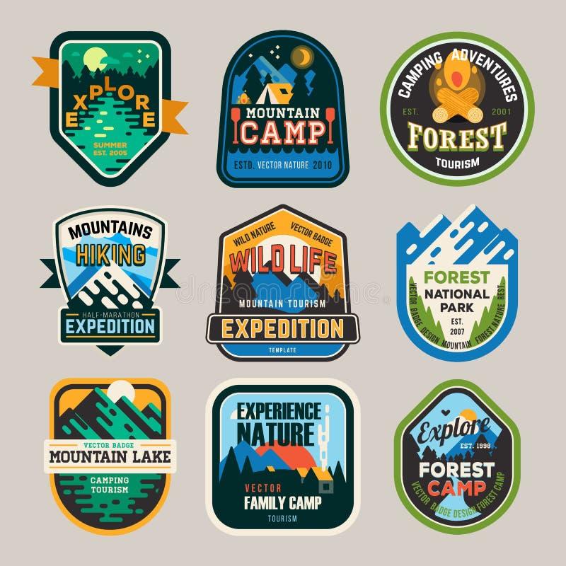Изолированные знаки, логотип для располагаясь лагерем клуба, исследование иллюстрация штока