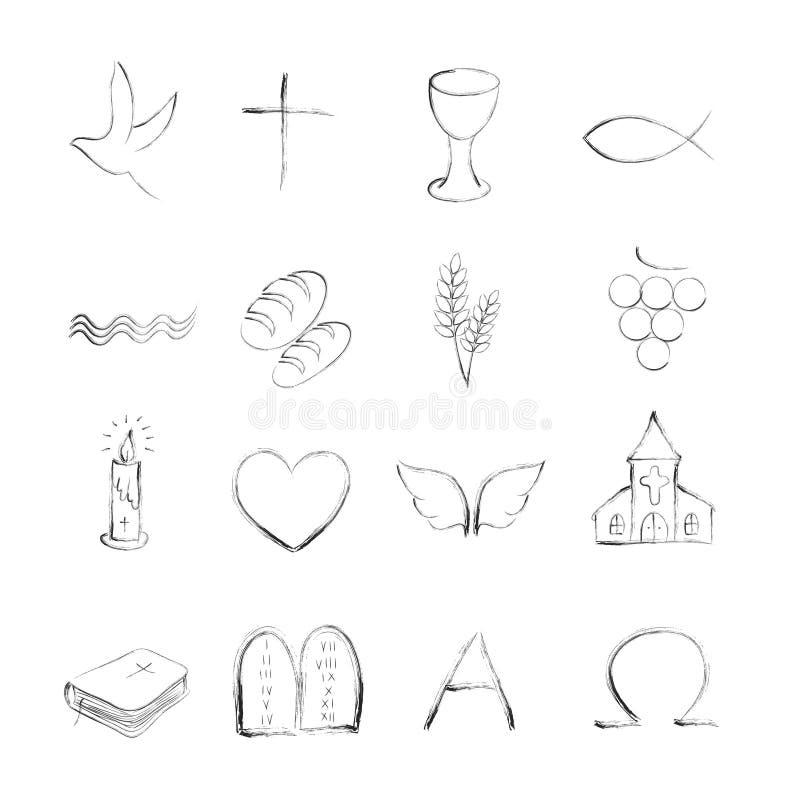 Изолированные значки плана христианина symboly иллюстрация штока