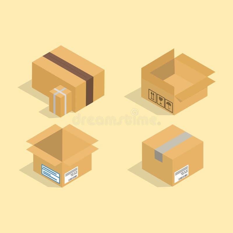 Изолированные значки различного вектора коробки равновеликие пакуют обслуживание движения или иллюстрацию контейнера подарка упак бесплатная иллюстрация