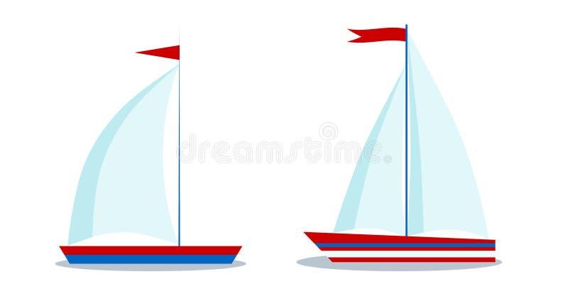 Изолированные значки стиля мультфильма голубые и красные парусники с одним и 2 ветрилами иллюстрация вектора