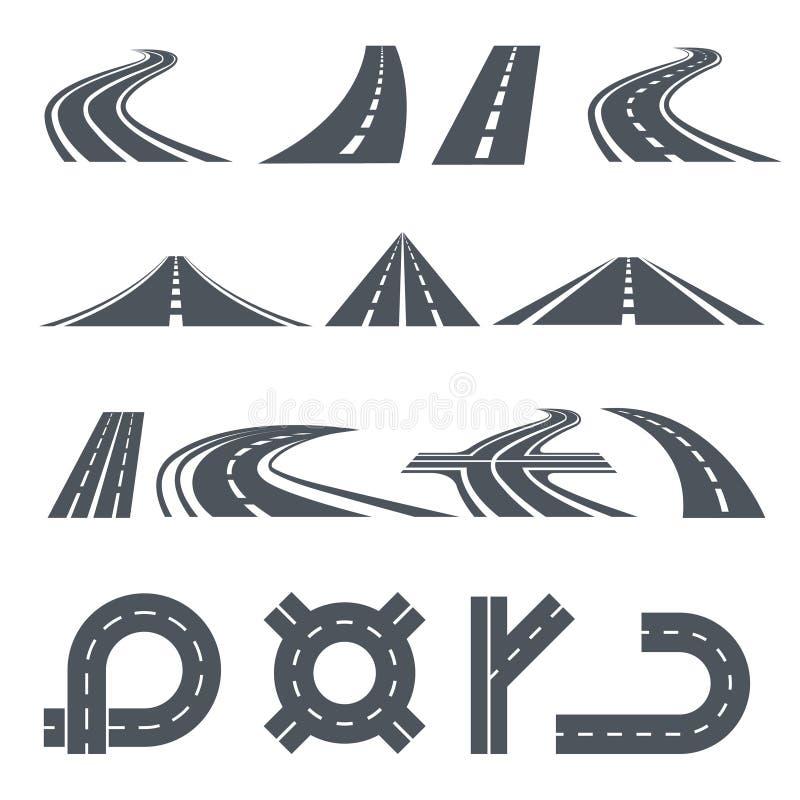 Изолированные изображения вектора тропы, различных дорог и длинного шоссе иллюстрация вектора