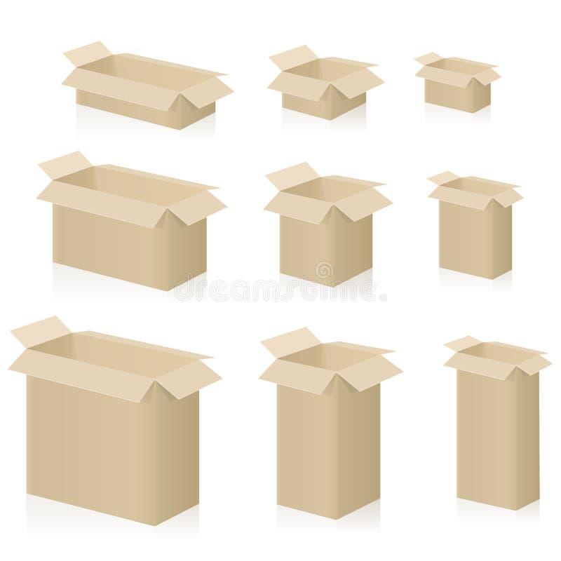 Изолированные картонные коробки раскрывают установленные различные размеры бесплатная иллюстрация