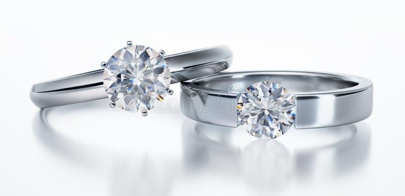 Изолированные кольца с бриллиантом 3D на белой предпосылке иллюстрация вектора
