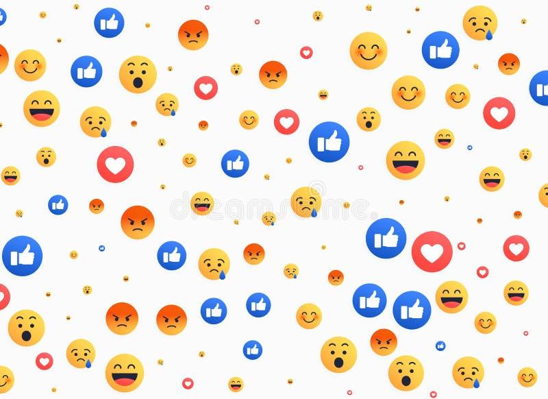 Изолированные конспектом значки предпосылки emoji иллюстрация вектора