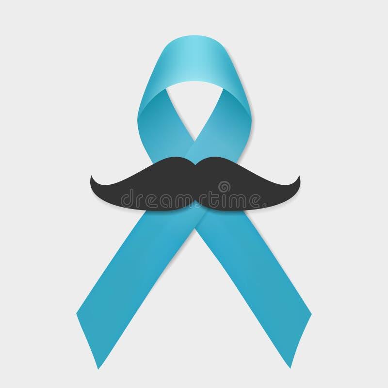 Изолированные лента и усик рака предстательной железы голубая Вектор дня людей поддержки в ноябре РАК ПРЕДСТАТЕЛЬНОЙ ЖЕЛЕЗЫ иллюстрация вектора