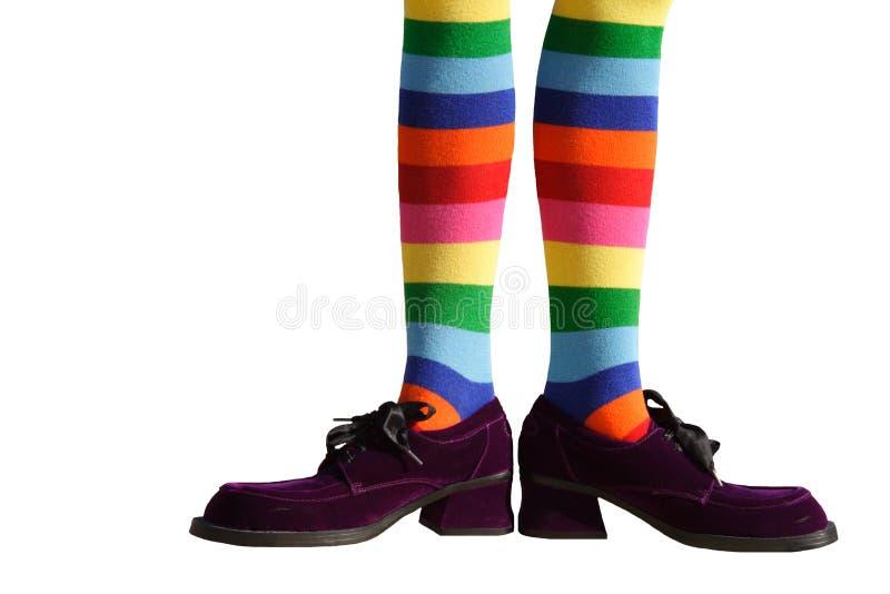 изолированные ноги клоуна стоковая фотография