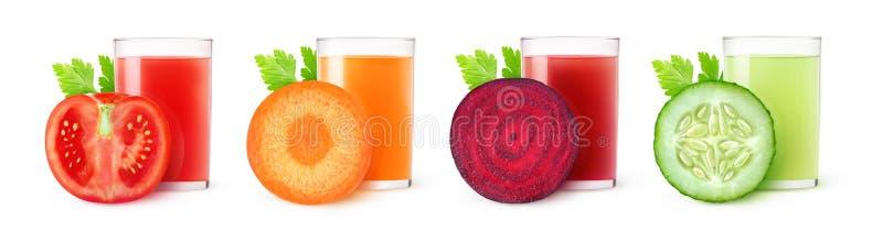 Изолированные овощные соки стоковая фотография