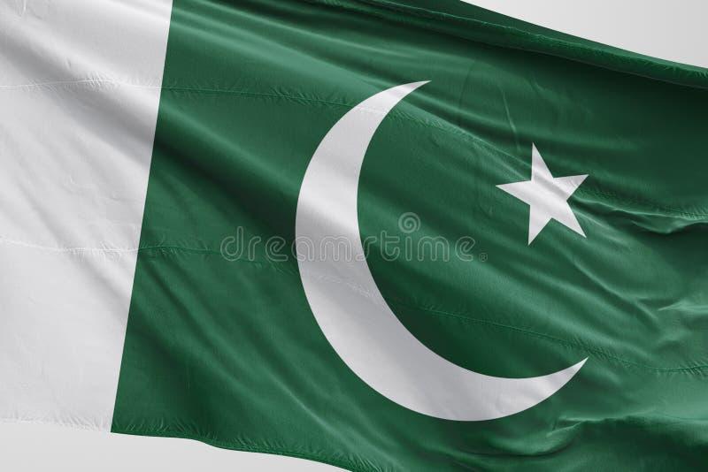 Изолированные пакистанцы сигнализируют развевая реалистическую пакистанскую ткань 3d стоковые фото