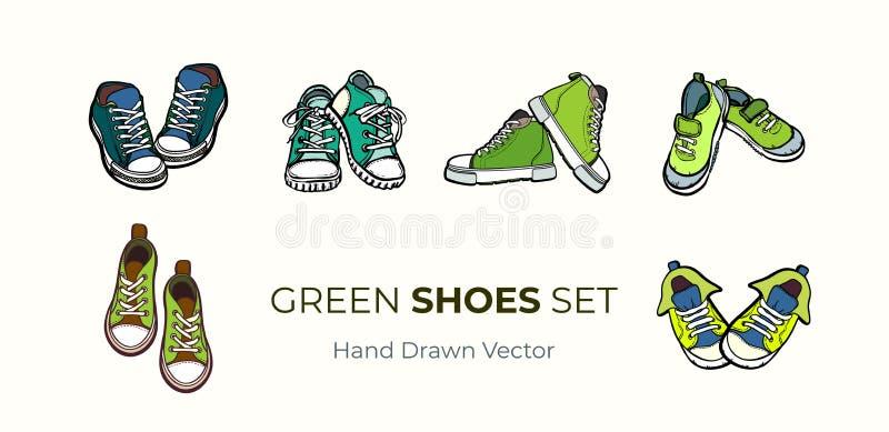 Изолированные пары ботинок тапок Иллюстрация вектора руки вычерченная установила зеленых ботинок Ботинки спорта вручают нарисован иллюстрация штока