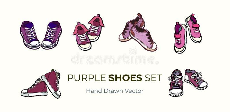 Изолированные пары ботинок тапок Иллюстрация вектора руки вычерченная установила розовых ботинок Ботинки спорта вручают нарисован иллюстрация штока