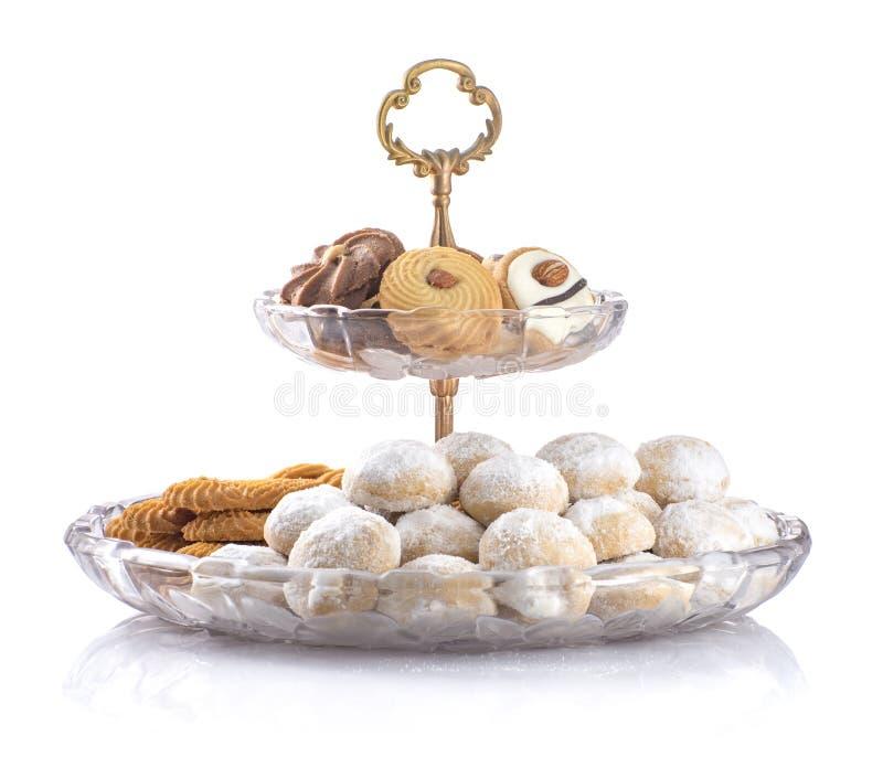 Изолированные печенья, мусульмане Eid меньшие закуски праздника стоковая фотография rf