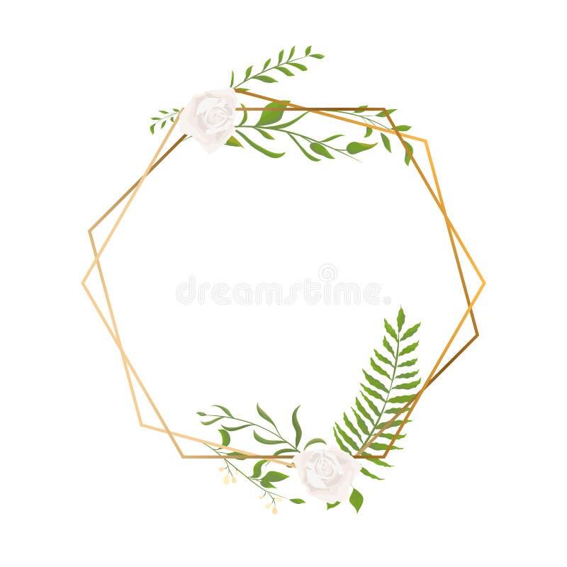 Изолированные рамка или полиэдрон золота геометрические с листьями и подняли, стиль стиля Арт Деко для приглашения свадьбы, роско иллюстрация штока