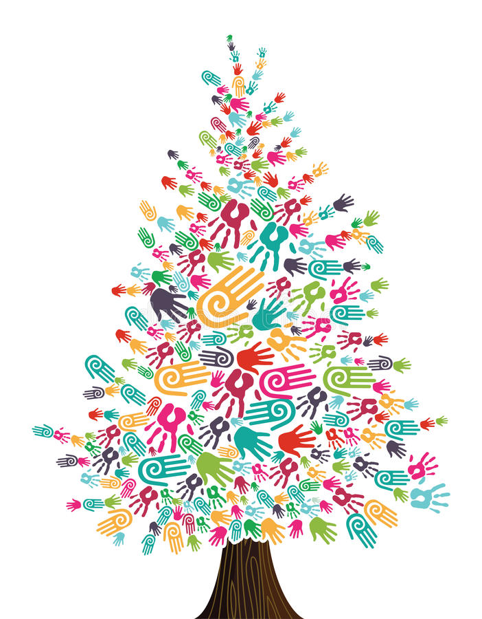 Изолированные руки рождественской елки разнообразности иллюстрация вектора