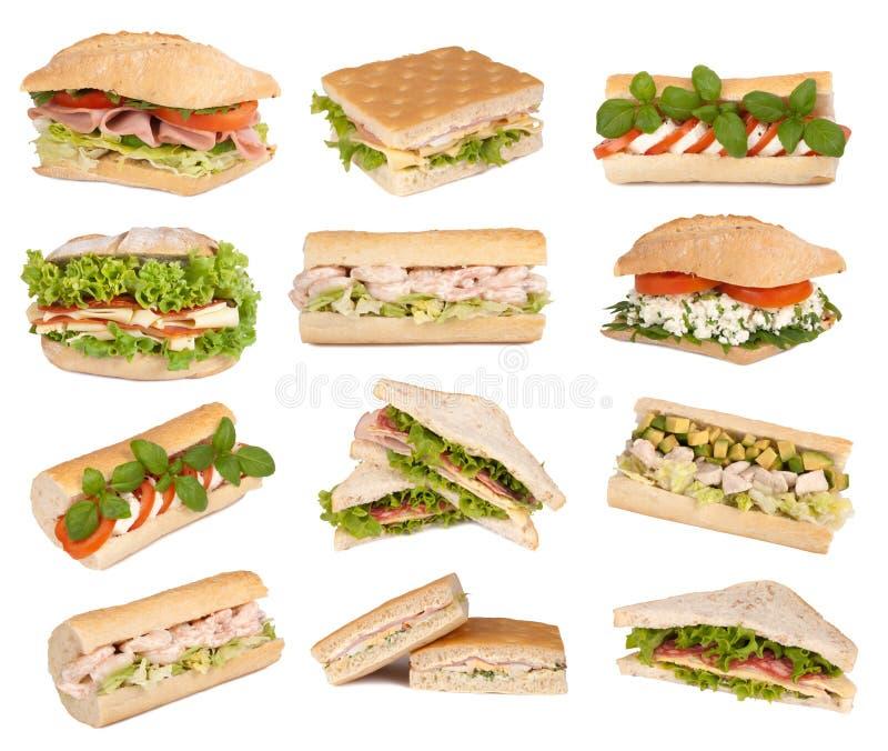 изолированные сандвичи белые стоковые фото