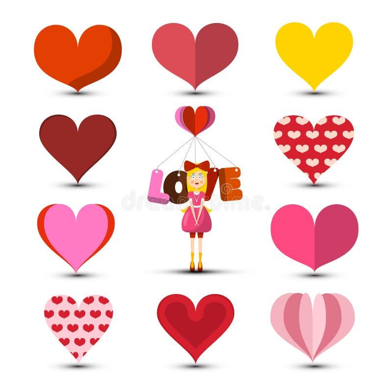 Изолированные сердца установили с девушкой и названием любов иллюстрация вектора