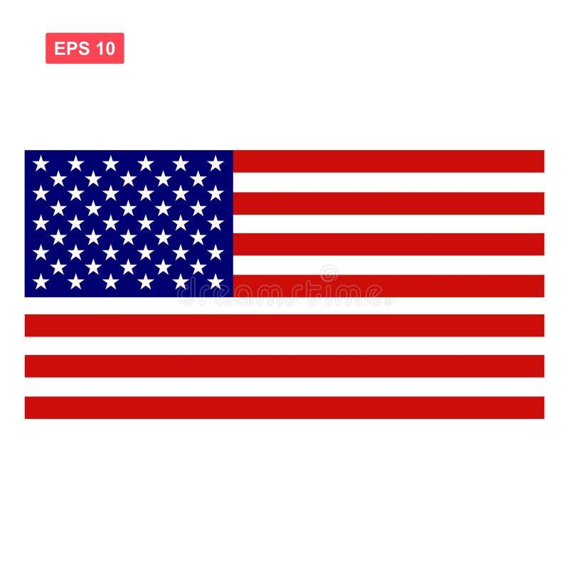 Изолированные Соединенные Штаты Америки или американский флаг иллюстрация штока
