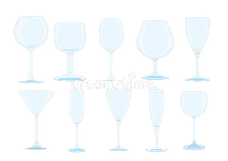 Изолированные стекло и бокал Шампань иллюстрация вектора