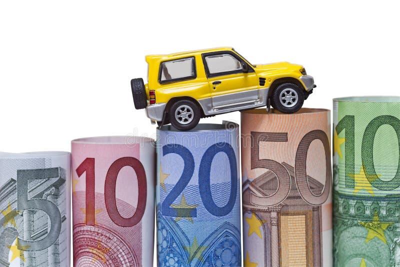 Изолированные счеты & автомобиль евро стоковое фото rf