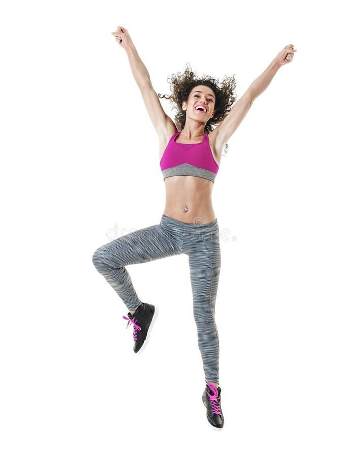 Изолированные тренировки фитнеса танцев танцора zumba женщины стоковая фотография
