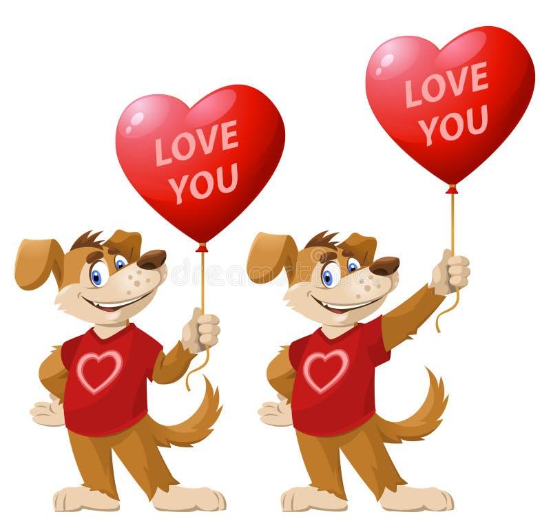 изолированные фоновые изображения 3d любят белизну вы Смешная собака шаржа, символ года 2018, владения слышит иллюстрация штока
