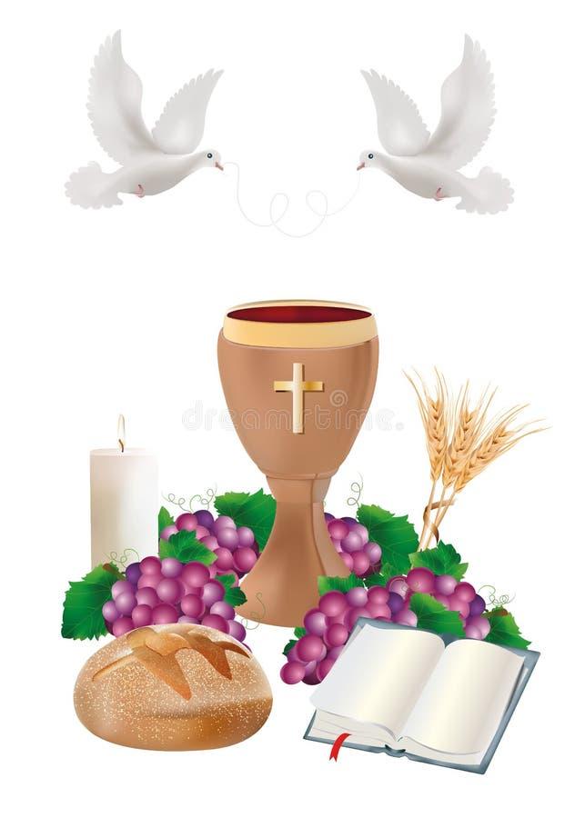 Изолированные христианские символы с деревянным кубком, хлебом, библией, виноградинами, свечой, голубем, ушами пшеницы бесплатная иллюстрация