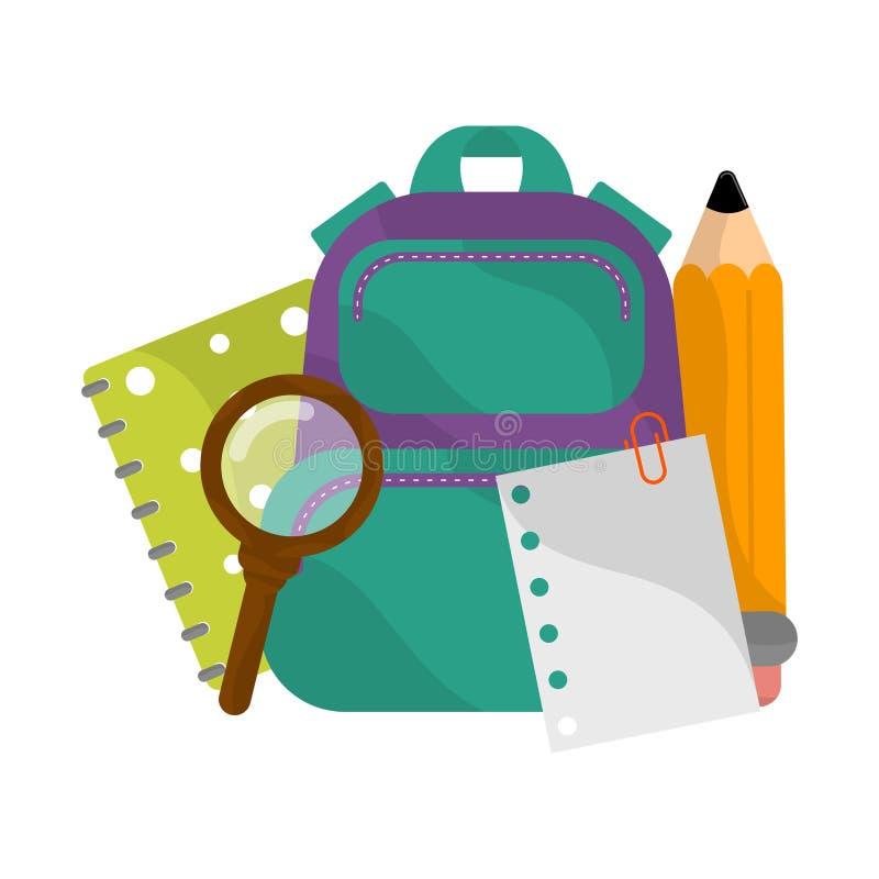 Изолированные школьные принадлежности отображают иллюстрация вектора