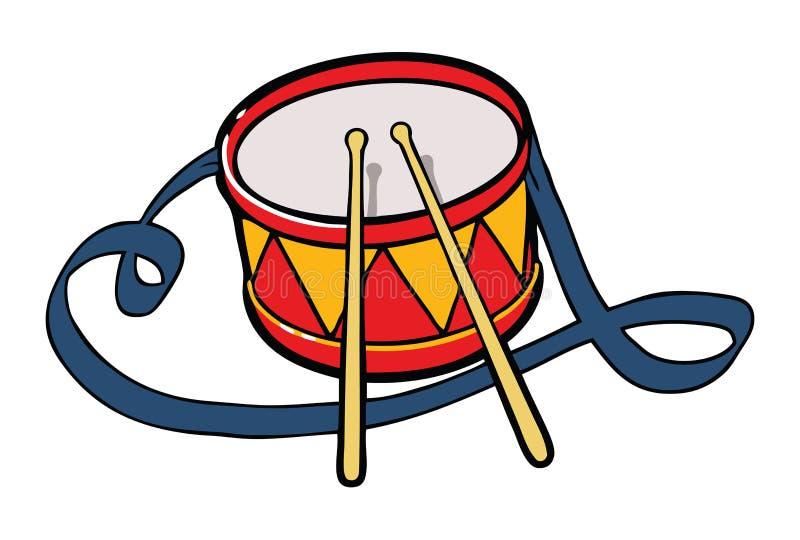 изолированный барабанчик иллюстрация вектора