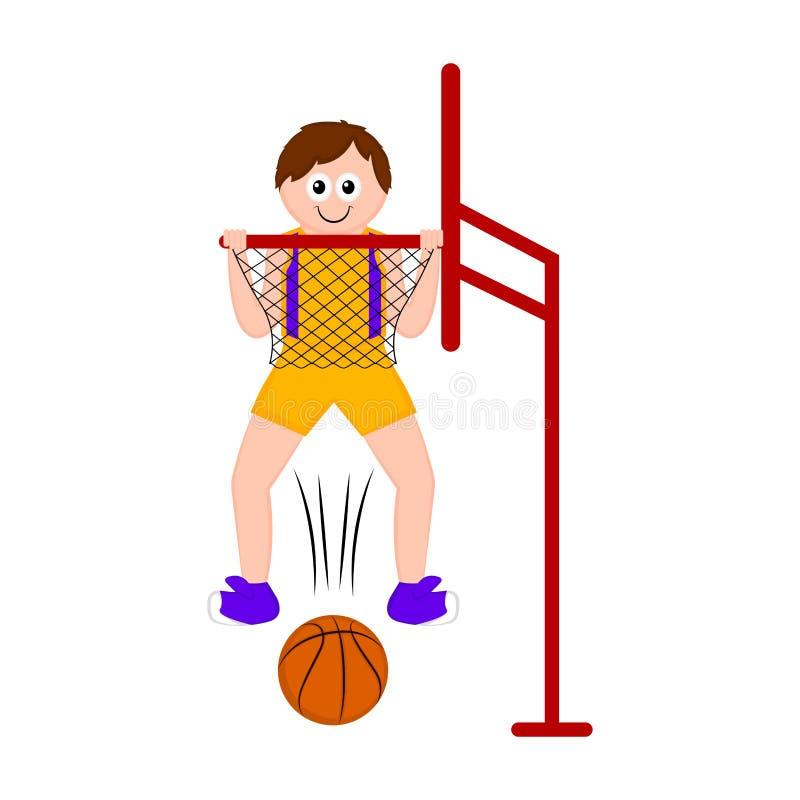 Изолированный баскетболист ведя счет пункт иллюстрация вектора