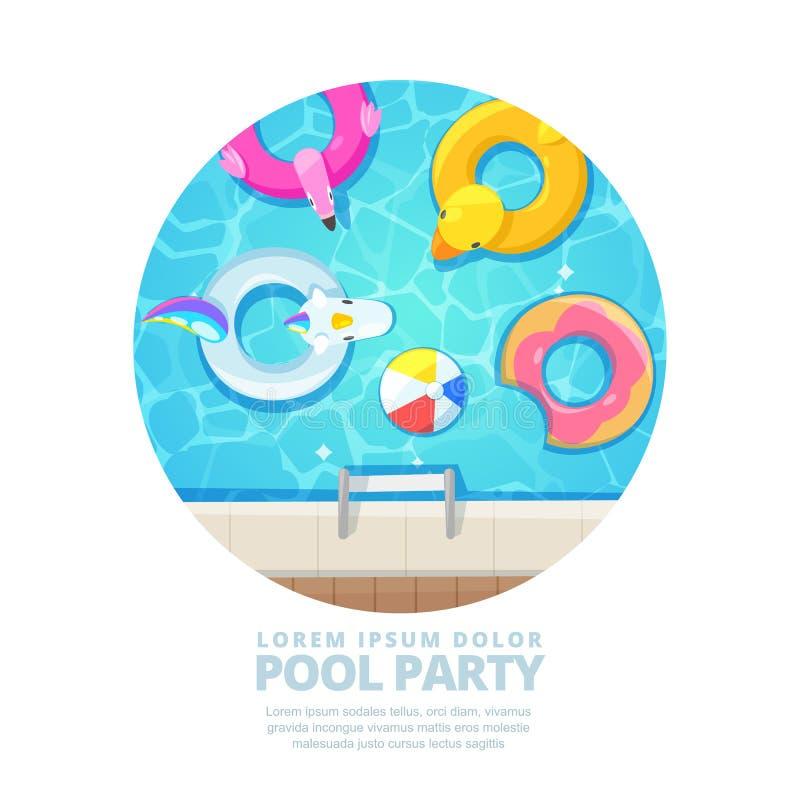Изолированный бассейн круга, иллюстрация шаржа вектора Плакат лета, план знамени бесплатная иллюстрация