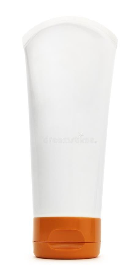 Изолированный белый пластиковый контейнер бутылки трубки стоковые фотографии rf