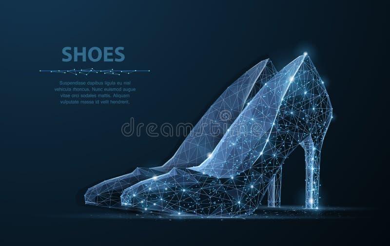 Изолированный ботинок женщины вектора Элегантность, очарование, символ красоты иллюстрация штока