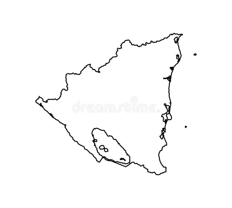 Изолированный вектором значок иллюстрации с черной линией силуэтом упрощенной карты Никарагуа бесплатная иллюстрация