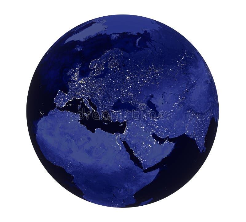 Изолированный взгляд Европы света ночи земли планеты иллюстрация штока